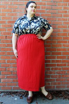 Plus Size  Vintage Red Jersey Tube Maxi Skirt Size 26/28 by TheCurvyElle, $25.00