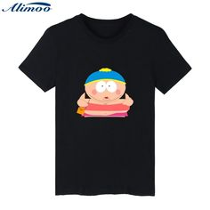 Alimoo Cartoon Sitcoms South Park Cotton Men T-shirt Slim Fit Short Sleeve Men Luxury Brand T Shirts in Plus Size Tees Tops