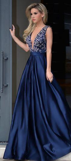New Fashion Navy Prom Dress, Silver Beading V
