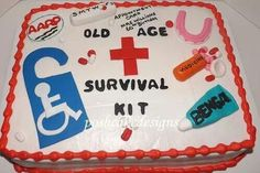 Old age survival kit cake. Dentures, Bengay, pill bottle, aarp card, handicap parking decal and pills. Over the hill cake, pill bottle cake, 60th birthday,  old cake, survival kit #poshcakedesigns.com #birmingham al