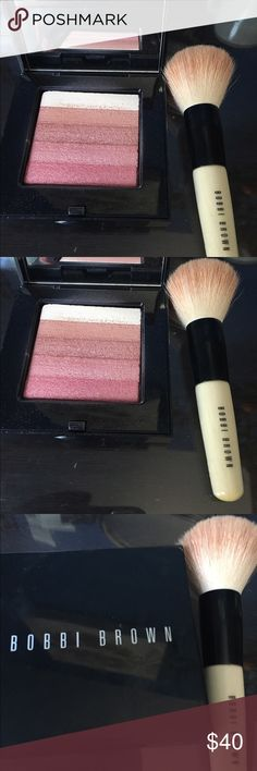 Bobbi Brown shimmer brick with brush Bobbi brown shimmer brick in Rose. Such a beautiful highlighter or blush. The brush that goes with this is included! Bobbi Brown Makeup Blush