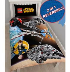 Star Wars Clone Wars Lego Star Wars Space Single Duvet Cover and Features Lego Darth Vader, Han Solo and a Rebel Pilot with their battle ships. Reversible - features a cool Lego brick print on the other side! 50% Cotton, 50% Polyester. (Barcode EAN=5055285346720) http://www.comparestoreprices.co.uk//star-wars-clone-wars-lego-star-wars-space-single-duvet-cover-and.asp