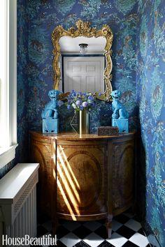Janet Gridley Design - Equateur by Hermes wallpaper Blue Rooms, Blue Walls, Bright Rooms, Blue Bedroom, Entry Hallway, Entryway, Blue Wallpapers, Desktop Backgrounds, Hallway Decorating