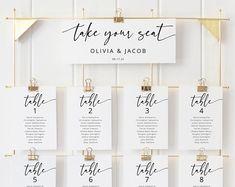 Seating Chart Template Editable Wedding Seating Chart | Etsy Table Seating Chart, Seating Chart Wedding Template, Seating Plan Wedding, Seating Cards, Wedding Table Numbers, Menu Template, Digital Invitations, Invitation Set, Ipad