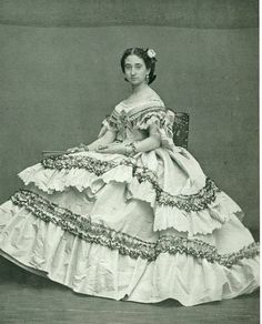 Vintage photo of a woman in a Victorian dress