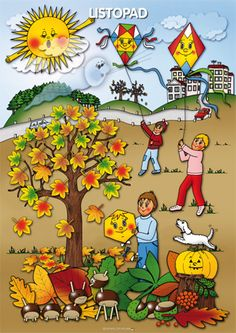 listopad Preschool Art Activities, Autumn Activities For Kids, Weather For Kids, Summer Coloring Pages, Picture Composition, Weather Seasons, Autumn Crafts, Seasons Of The Year, Dream Art