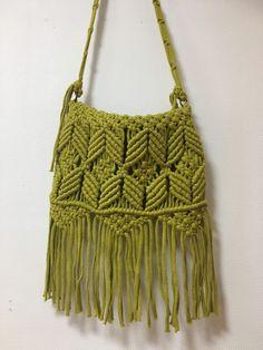 マクラメ編みのボヘミアンショルダーバッグ | ハンドメイドマーケット minne