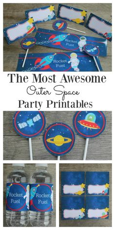 These outer space printables are perfect for party decoration, and the kids absolutely love them.  Bring the solar system to the party with the planets, rockets, spacemen and even little aliens. These fun printables will do all the hard work of setting the scene for you.