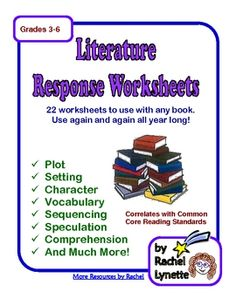 Any Book Literature Response. 22 Printable Pages. $4.75
