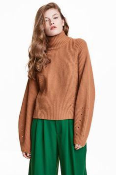 Sweter z domieszką kaszmiru - Camel - ONA | H&M PL
