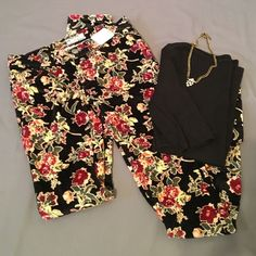 Beautiful Black Floral Corduroys from Free People NWT! Super soft, Very stretchy fine wale corduroy pants. Beautiful floral design on black background. Size 24. Inseam is 31.5 inches, rise is 6.5 inches, waistband measured flat across is 14 1/4 inches. Perfect Condition! Free People Pants Skinny