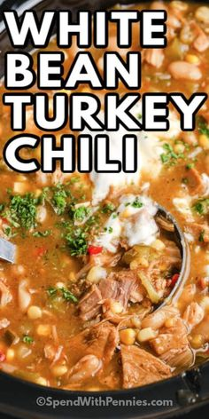 White Turkey Chili is a hearty, healthy twist on a classic dish. The whole family will love this served with fresh buns and a side salad!  #spendwithpennies #whiteturkeychili #recipe #maindish #healthy #easy Slow Cooker Chili, Slow Cooker Recipes, Crockpot Recipes, Cooking Recipes, Healthy Recipes, Crockpot Dishes, Meal Recipes, Cooking Time, Healthy Meals