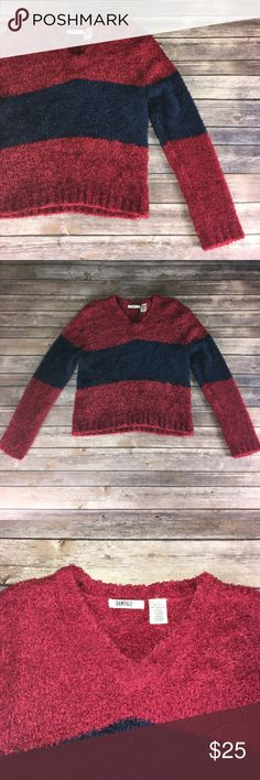 VINTAGE 90s RAMPAGE FUZZY SWEATER EUC. Navy & red color block fuzzy sweater. Vintage Sweaters V-Necks