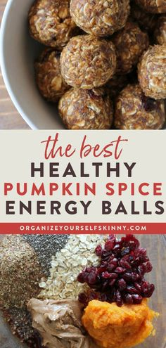 The Best Healthy Pumpkin Spice Energy Balls | Healthy Oatmeal Recipe - Looking for a quick and easy energy bite snack recipe? This Pumpkin Spice Cranberry Energy Bites recipe uses basic pantry ingredients and doesn't need to bake. These are so easy to make and perfect for a healthy grab and go snack. They also make the perfect family lunchbox addition. Organize Yourself Skinny | Healthy Lunch Snacks | Healthy Sweet Snacks | Healthy Fall Recipes #energybites #energyballs #pumpkinrecipe