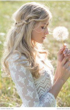 Rustic Vintage Half Up Half Down Bridal Hairstyle