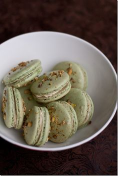 Pistachio Macarons with Pistachio Vanilla Butter Cream. Raspberry buttercream or rosewater buttercream would also be good.