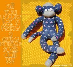c e m p r u t: tuto on friday: the monkey sock doll...!!!