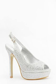 ff5b50c4499893 Womens Ladies Silver Diamante High Heel Slingback Peep Toe Shoes Size UK 7  New Useful Info