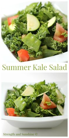 Summer Kale Salad | Strength and Sunshine @RebeccaGF666 A perfect all vegetable salad for an easy summer side dish, healthy, allergy-free, and simply flavored with bright lemon juice!