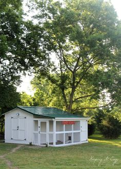 What a cute little chicken coop made using an ugly shed.