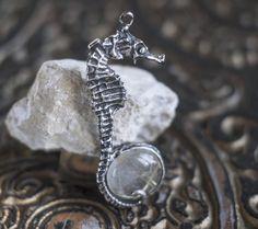 "READY. Sterling Silver 925 Rutilated Quartz Pendant """"the HIPPOCAMPUS"". Quartz Jewelry, Witch Pendant, Seahorse Pendant, Design Pendant by NellyRomanova on Etsy"