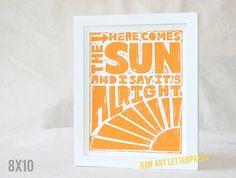 KITCHEN WALL ART Beatles Here Comes the Sun by rawartletterpress