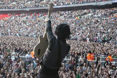 Billie Joe Armstrong of Green Day on stage at Wembley Stadium, London. June 19, 2010