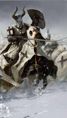 The bulk of the Templar's military might was comprised of knights and sergeants. Although both classes of Templars were as likely to die in battle, the knight had a higher ranking within the Order. Knights had to be men of noble birth and wore the white mantle that is the most familiar garment of the Order. Each knight was permitted one squire and three horses.