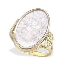 Yellow Gold Ring with Mother of Pearl Long Life Gaming Counter - Rings - Jewelry Type Jewelry Rings, Silver Jewelry, Yellow Gold Rings, Ring Designs, Metals, Counter, Gaming, Design Ideas, Pearl
