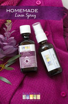 Freshen linens with this simple, chemical-free homemade linen spray featuring Aura Cacia Petal Power Essential Oil Blend, specifically blended for use in laundry care recipes.