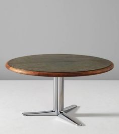Warren Platner; Oak, Leather and Steel Dining Table for Knoll International, 1960s.