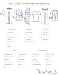 Fall Wardrobe Essentials Checklist ....a 2011 List But Still Some Classic  Pieces