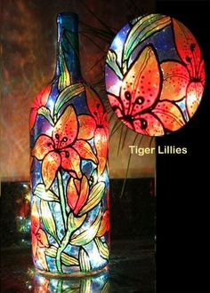 Tiger Lillies Painted Wine Bottle