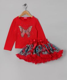 Red Butterfly Tee & Pettiskirt - Infant, Toddler & Girls by GiGi #zulily #zulilyfinds