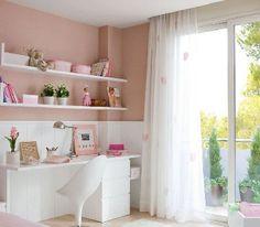 Déco chambre fille peinture rose et mobilier blanc - Décoration Maison Idées Déco et Couleur Peinture par Pièce |Déco-Cool