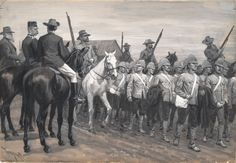 An image from the Boer (and German) side: British prisoners in South Africa. Thure Thulstrup (1848-1930), c. 1900.The horseman in the French-style uniform is probably Colonel de Villebois-Meareuil.
