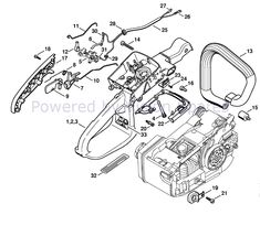 View Stihl MS 200 Chainsaw Parts Diagram , Handle Housing MS 200 to easily locate and buy the spares that fit this machine. Chainsaw, Ms, Diagram, Handle, Door Knob