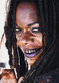 "Calypso/Tia DALMA (Naomie HARRIS) by Corinne Vuillemin- Crayons de couleur (Faber-Castell ""polychromos"")/Colored pencils (Faber-Castell ""polychromos"") - - Daler Rowney 220 g - January 2013 Voodoo Costume, Voodoo Halloween, Halloween Makeup, Halloween Costumes, Voodoo Priestess Costume, Halloween Ideas, Calypso Pirates, Voodoo Makeup, Tia Dalma"