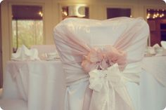 Wedding chair covers Love the delicate pink. Wedding Fair, Wedding Bows, Wedding Themes, Our Wedding, Wedding Venues, Dream Wedding, Wedding Chair Sashes, Wedding Linens, Wedding Table