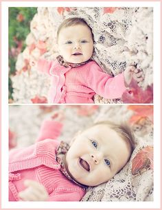 Dress your baby in comfortable clothes that he or she will be happy in. This sweet plain sweater photographs well and the pattern of the collar adds a fun touch!