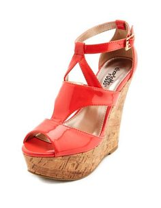 Caged Patent Cork Wedge Sandal: Charlotte Russe