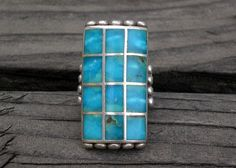Large Vintage Navajo Sky Blue Natural Turquoise Channel Inlay Ring 28 gm! Sz 9