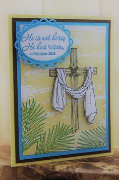 Christian Easter Card Handmade, Religious Easter Card, Easter Cross, He is risen, Stampin up Easter Cards, Easter Handmade Card with Cross by JencardsBoutique on Etsy