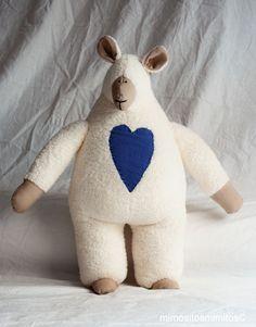 muñeco tela toalla corazón blanco azul oveja ovella doll beeh marrón suave bebe