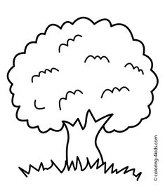 Tree Coloring Page Nature For Kids Printable Free