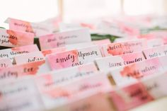 watercolor escort cards for a wedding