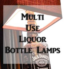 Check out multi-use bottle lamps feature a beautiful hand crafted base with a built in USB port, Edison outlet and paddle switch. Liquor Bottle Crafts, Liquor Bottles, Glass Bottles, Beer Bottle, Jack Daniels Lamp, Jack Daniels Bottle, Bottle Lamps, Diy Shows, Pinterest Crafts