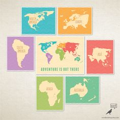 World Map nursery art / Oh, the places you'll go / Playroom decor / World Map for kids / Adventure is out there / Motivational art by WordBirdShop on Etsy https://www.etsy.com/listing/188874057/world-map-nursery-art-oh-the-places