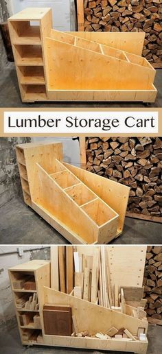 Woodworking - Wood Profit - I came up with my ideal lumber storage cart and crea. - Woodworking – Wood Profit – I came up with my ideal lumber storage cart and created the build p - Lumber Storage, Diy Garage Storage, Storage Cart, Wood Storage, Garage Organization, Organizing, Organization Ideas, Storage Sheds, Outdoor Toy Storage