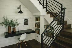 The Barndominium   Season 3   Fixer Upper   Magnolia Market   Under staircase bookshelf   Unexpected Ideas   Chip & Joanna Gaines   Waco, TX